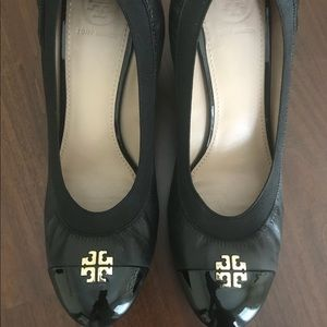 Tory Burch black leather wedges. Worn once!